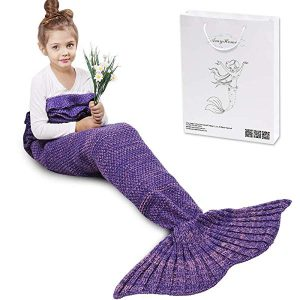 AmyHomie Mermaid Tail Blanket, Crochet Knitting Mermaid Blanket, Mermaid Tail Blanket for Kids All Seasons Sleeping Blankets for Girls
