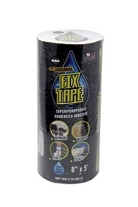 The Original Fix Tape (As Seen On TV), Rubberized Waterproof Tape, Boat Repair (Black, 8 inches x 5 feet)